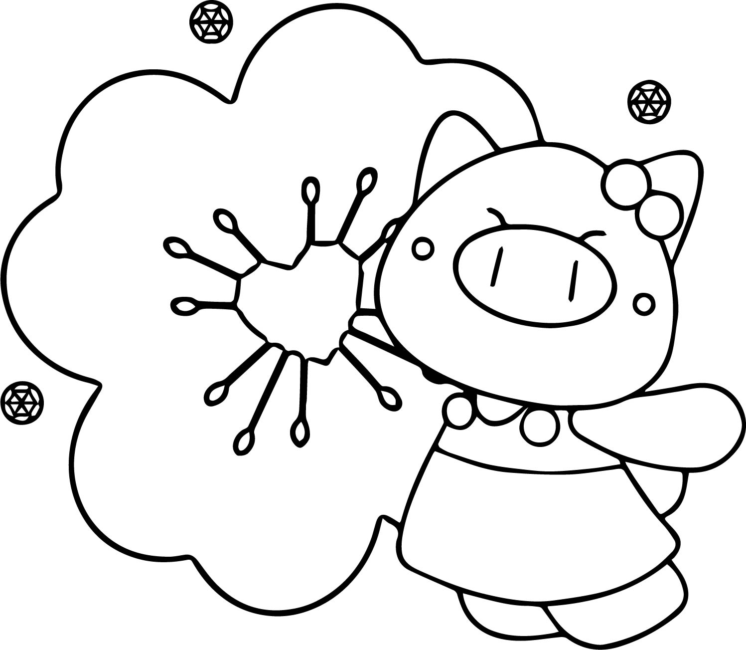 Pig Cartoon Wallpaper Coloring Page