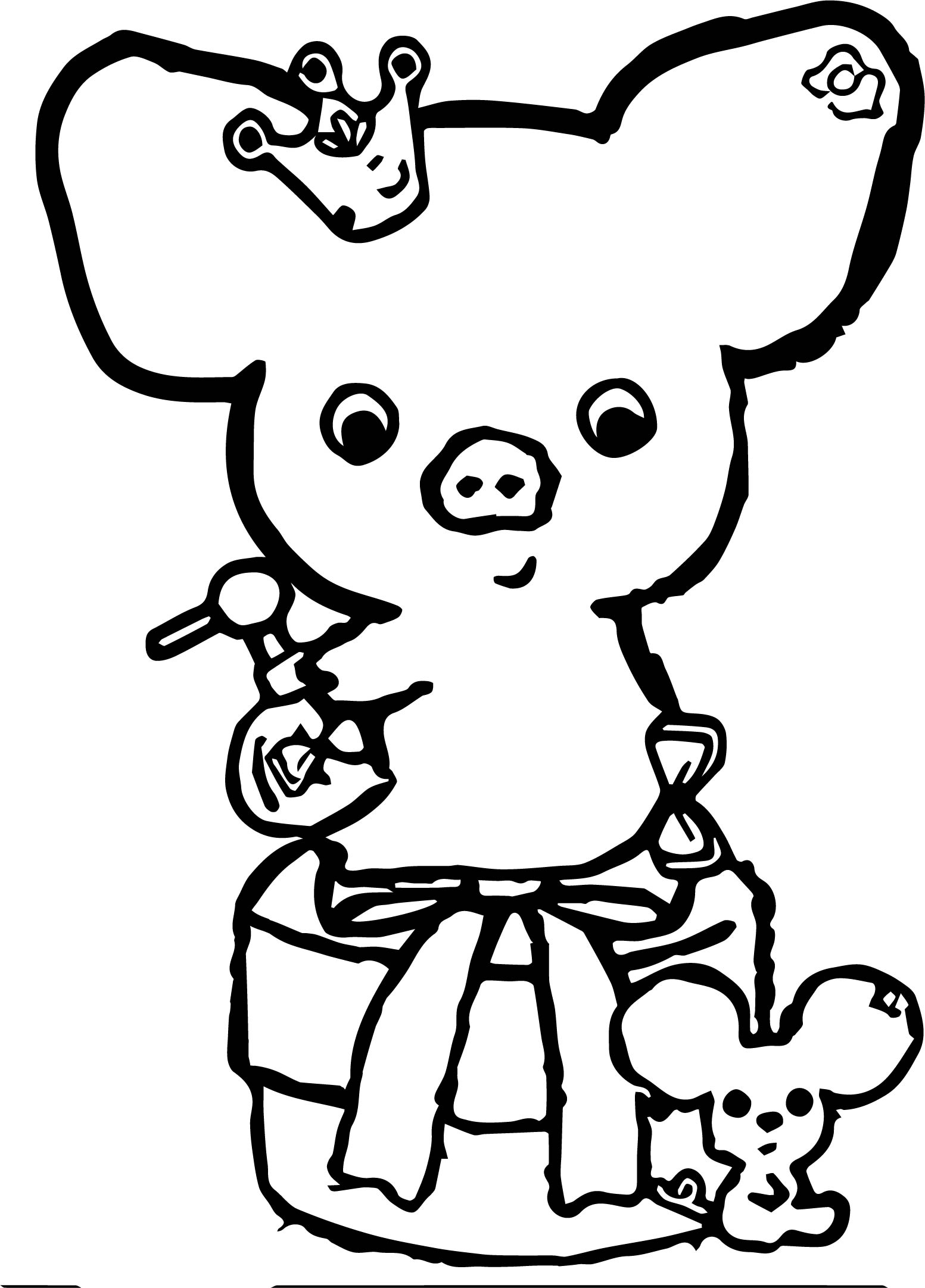 Piggy Girl Coloring Page