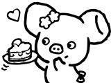 Piggy Girl Pig Cake Strawberry Towel From Japan Coloring Page