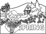 Seasons Spring Scene Girl Coloring Page
