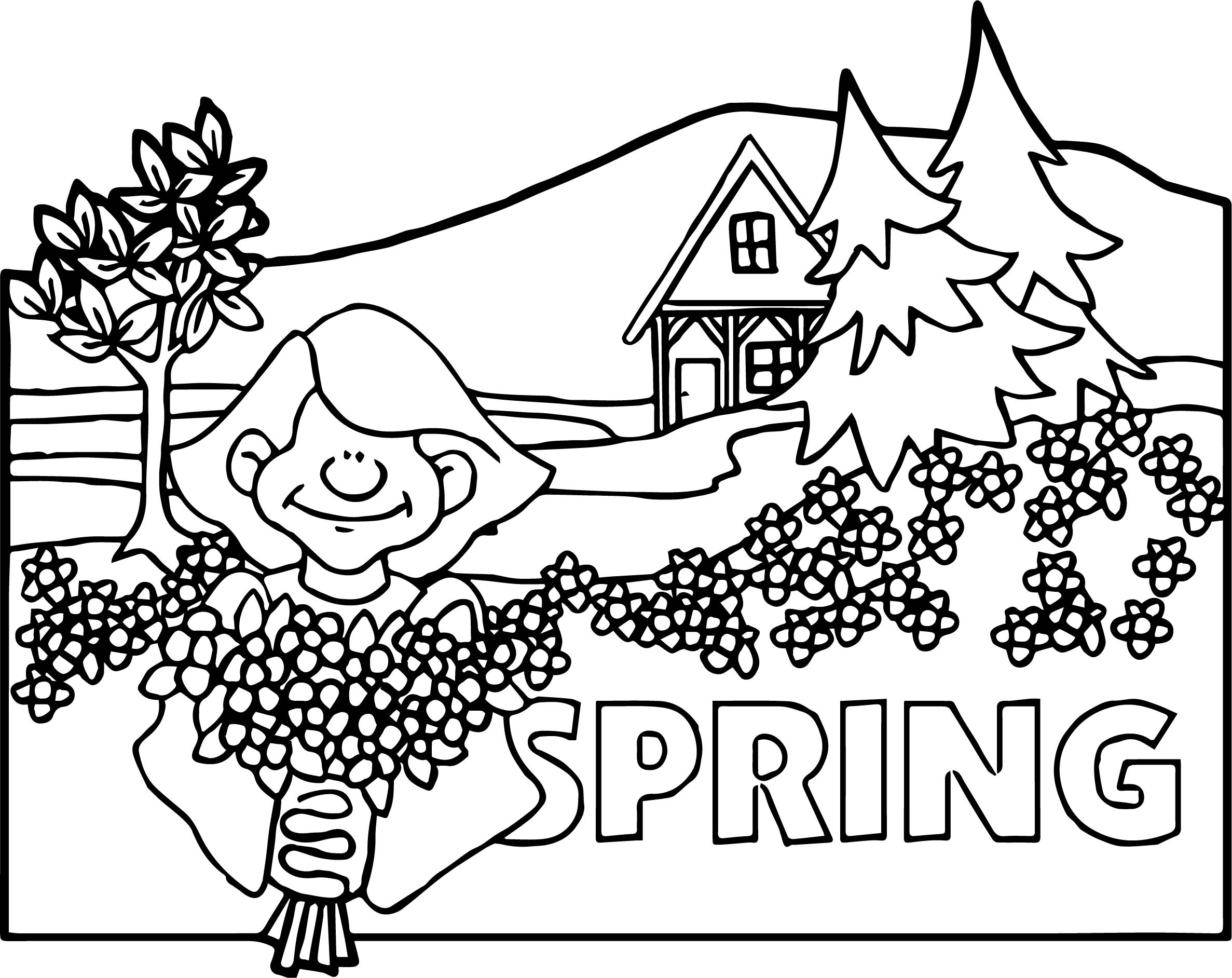 spring scene coloring pages - photo#17