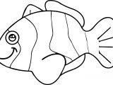 Smile Cartoon Fish Coloring Page Sheet
