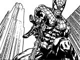 Spider Man In City Coloring Page