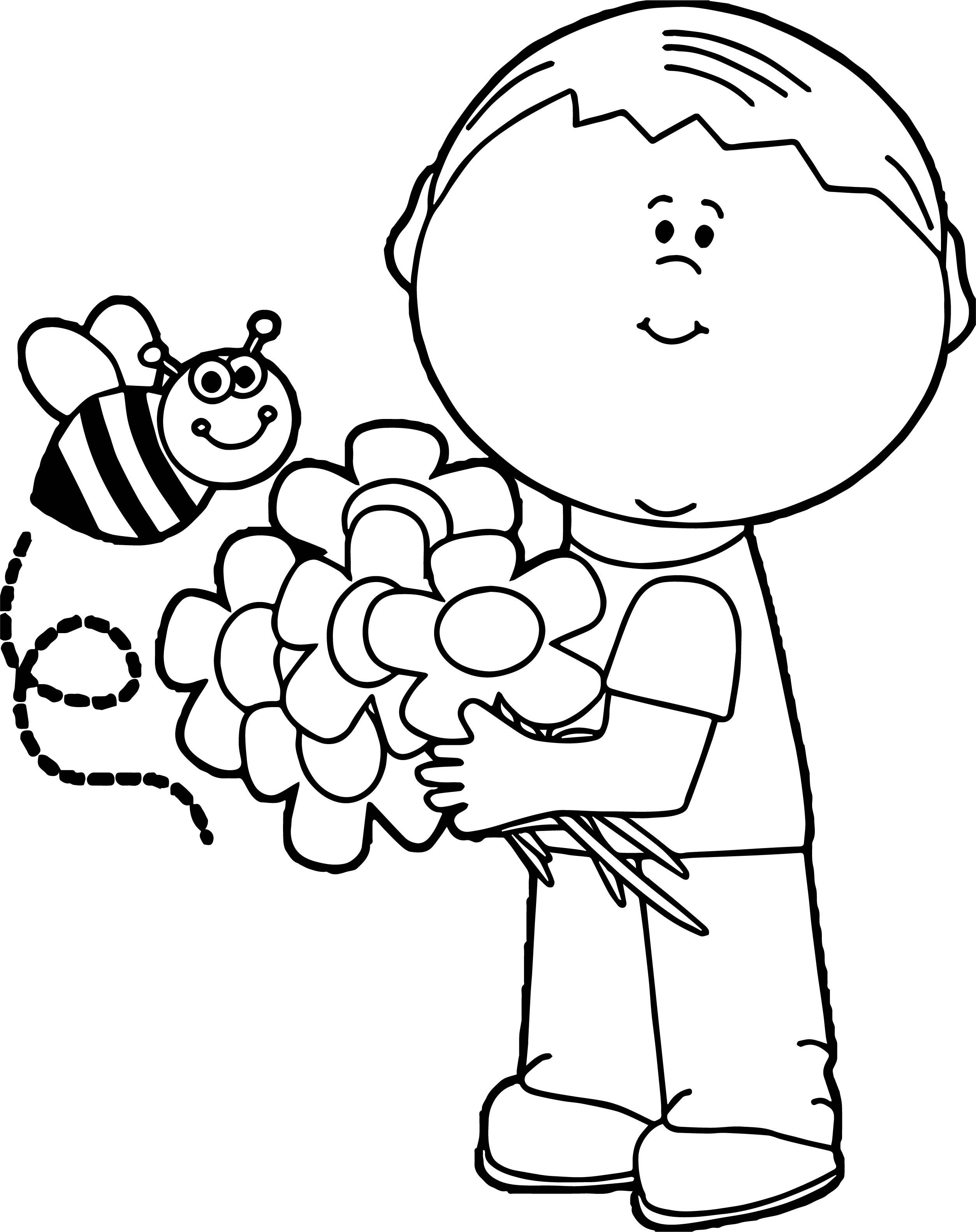 Spring Boy Coloring Page