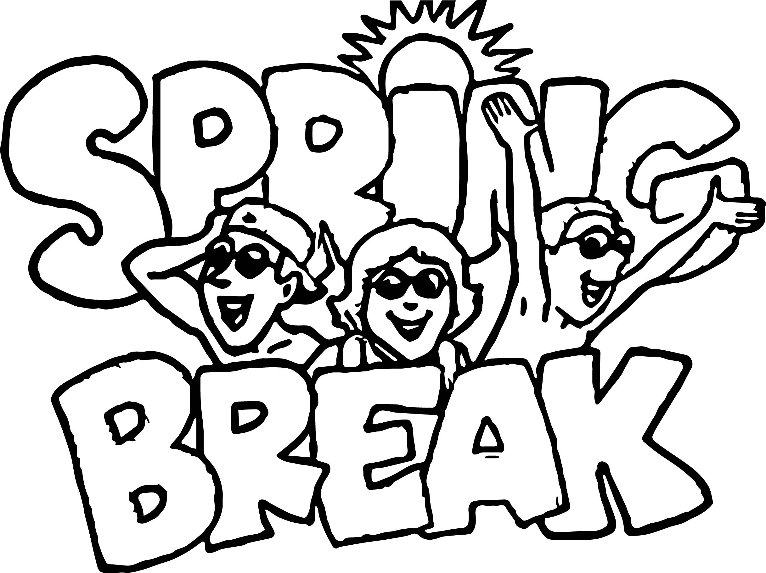 spring break coloring pages Kaysmakehaukco