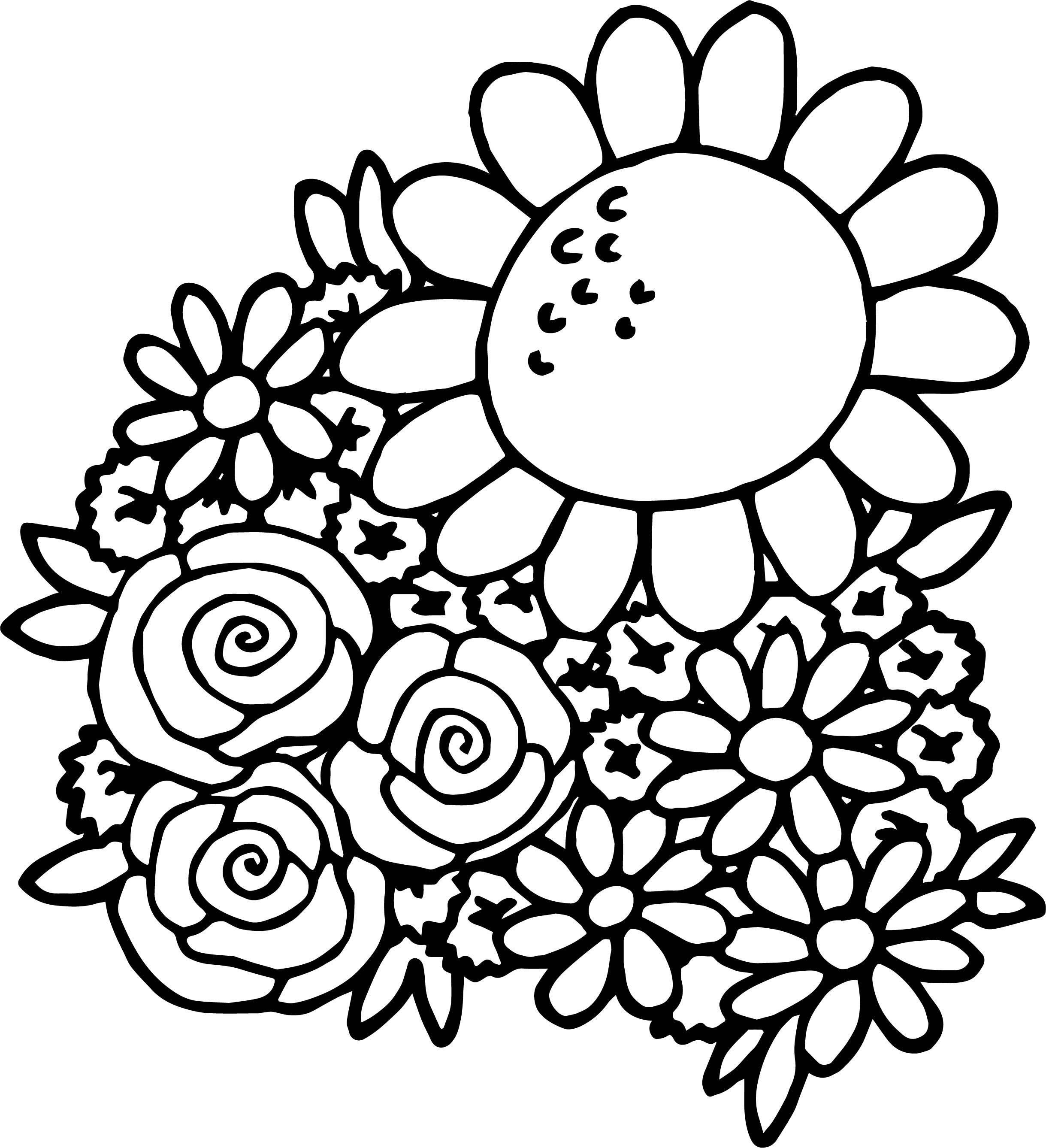 Spring Break Spring Flower Coloring Page