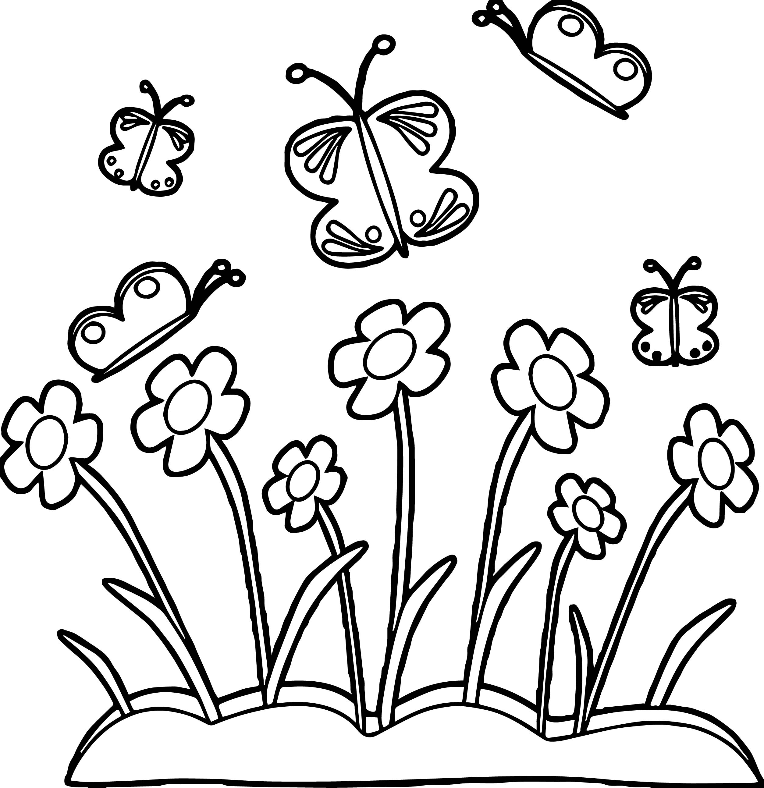 Spring Flower Border Spring Flowers And Butterflies Coloring Page ...