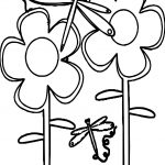 Spring Flowers Dragonfly Coloring Page