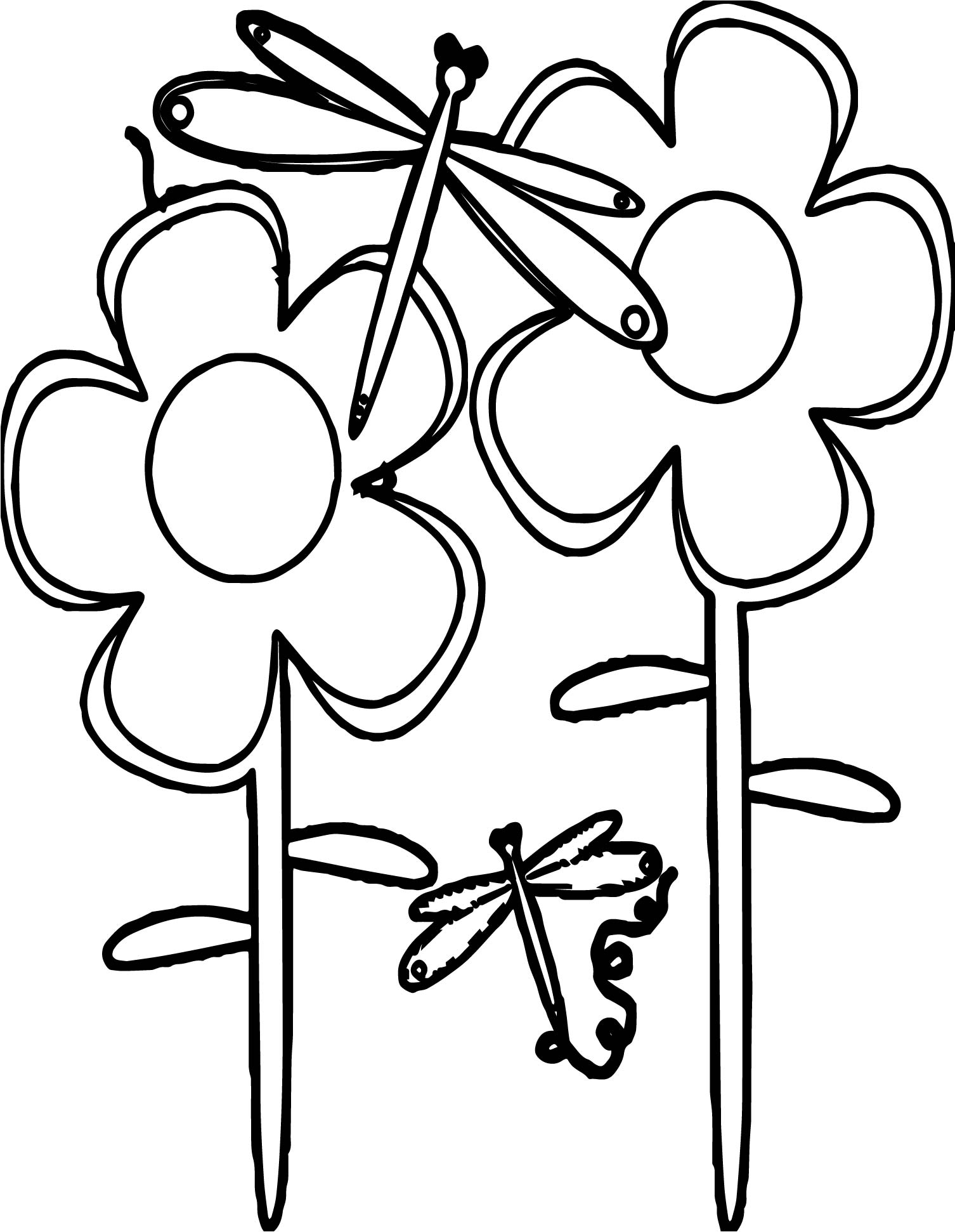 Spring Flowers Dragonfly Coloring Page | Wecoloringpage.com