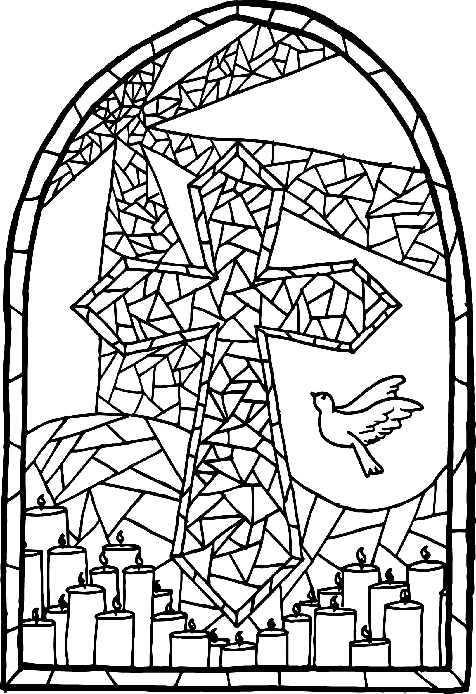 Stained glass cross coloring page for Coloring pages of cross