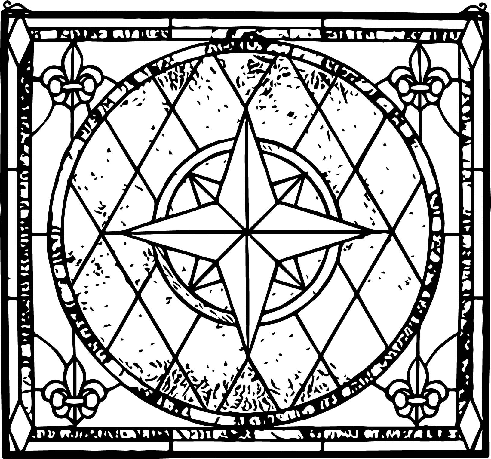Stained Star Window Coloring Page