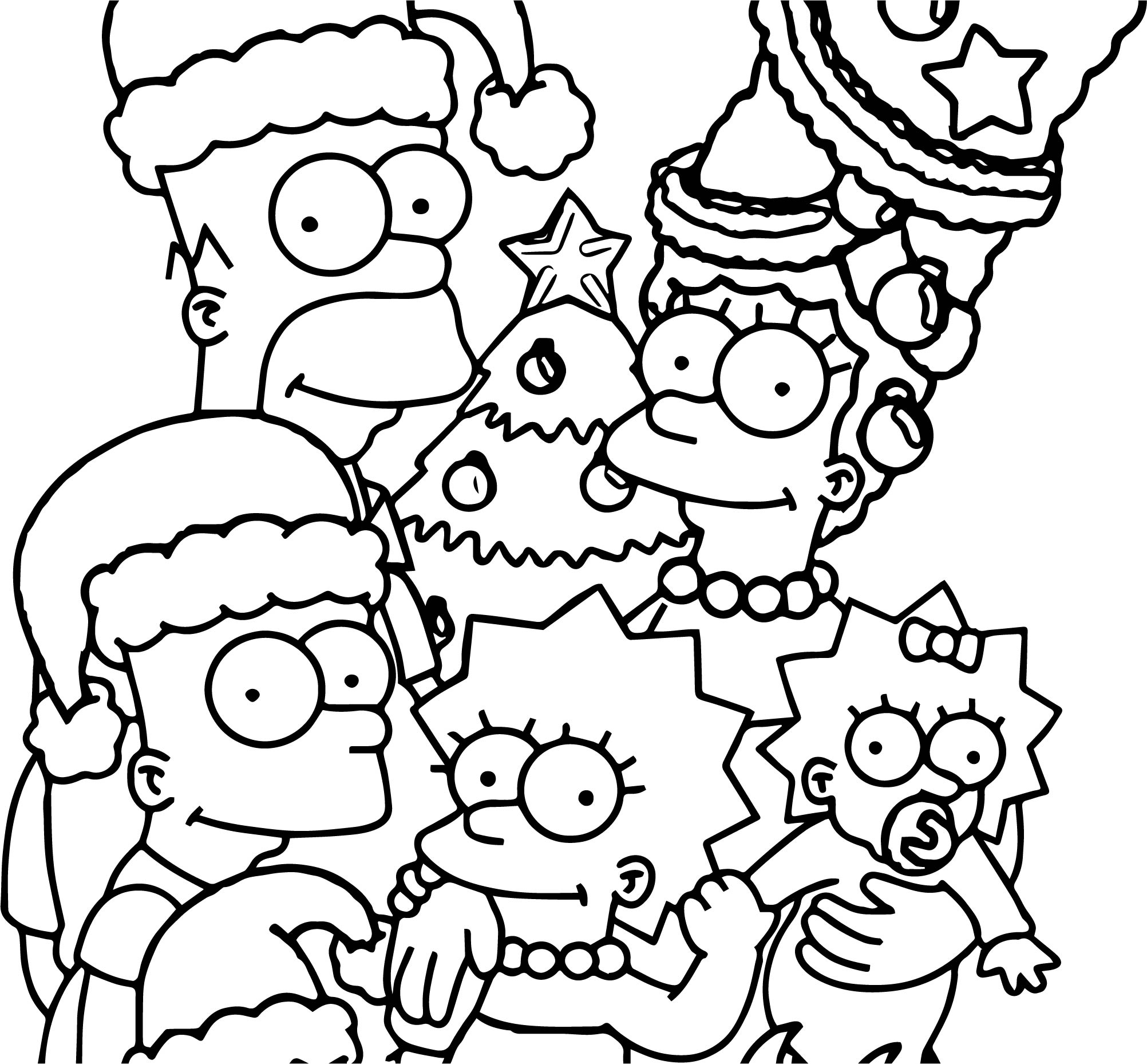 The simpsons wallpaper christmas coloring page for Coloring pages simpsons
