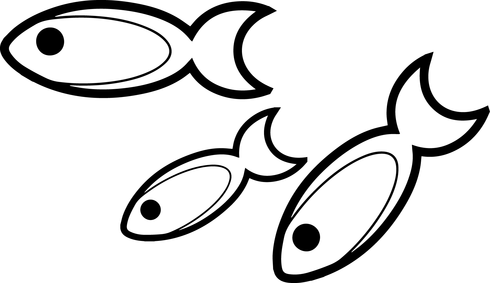 Three cartoon fish coloring page sheet for Fish cartoon coloring pages