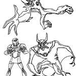 Three Character Ben10 Benten Coloring Page