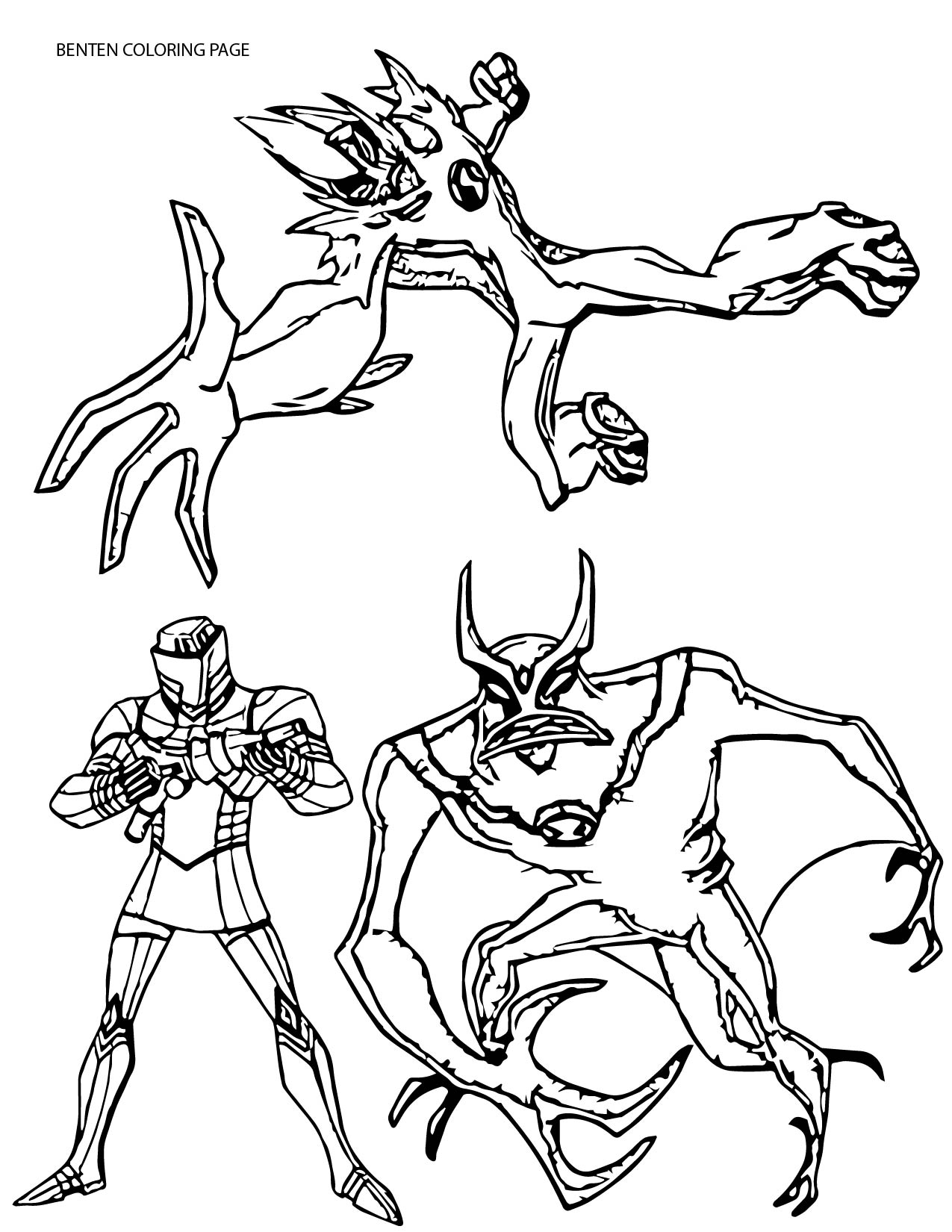 Three Character Ben10 Benten Coloring Page