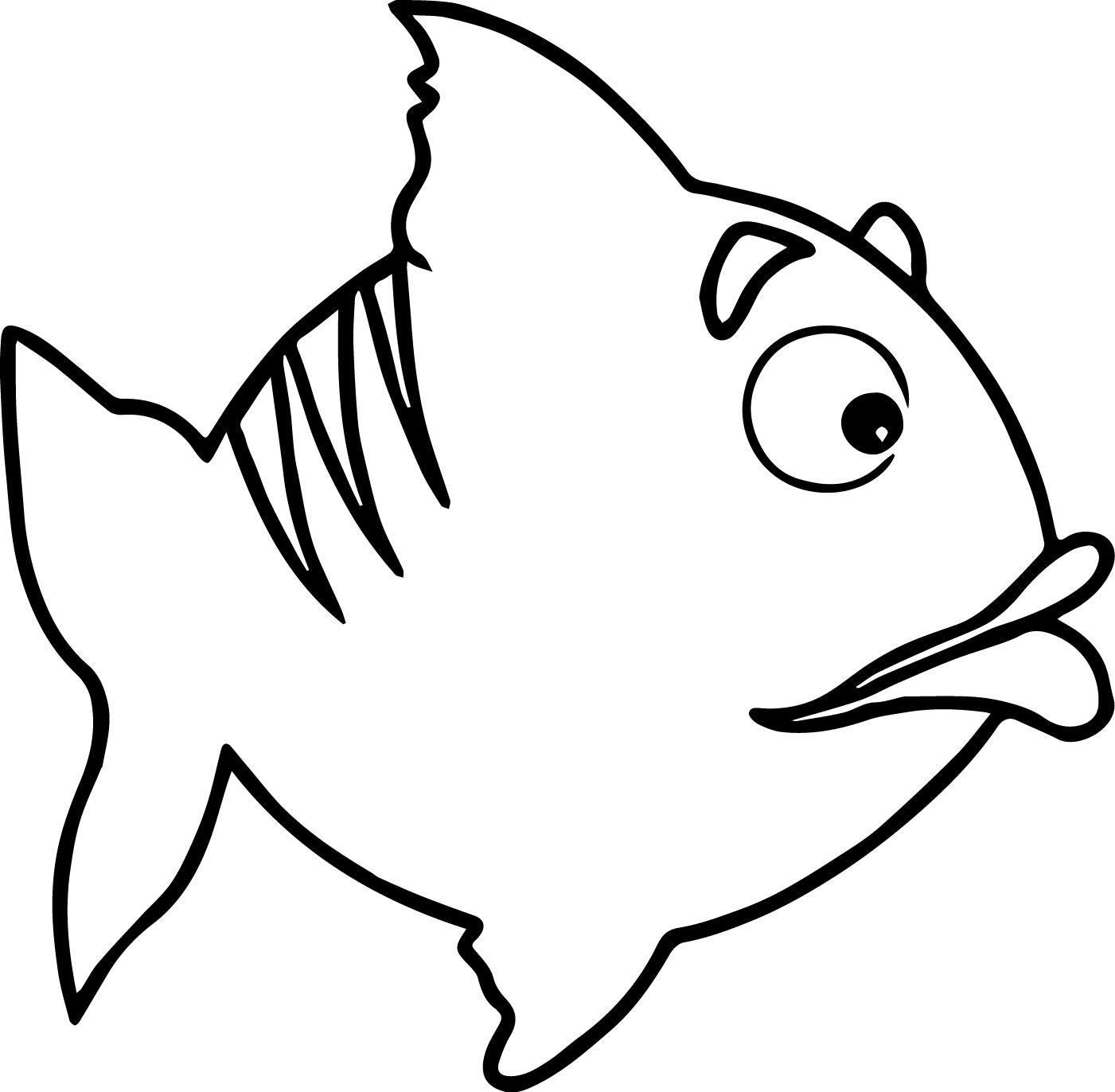 Too Cartoon Fish Coloring Page Sheet