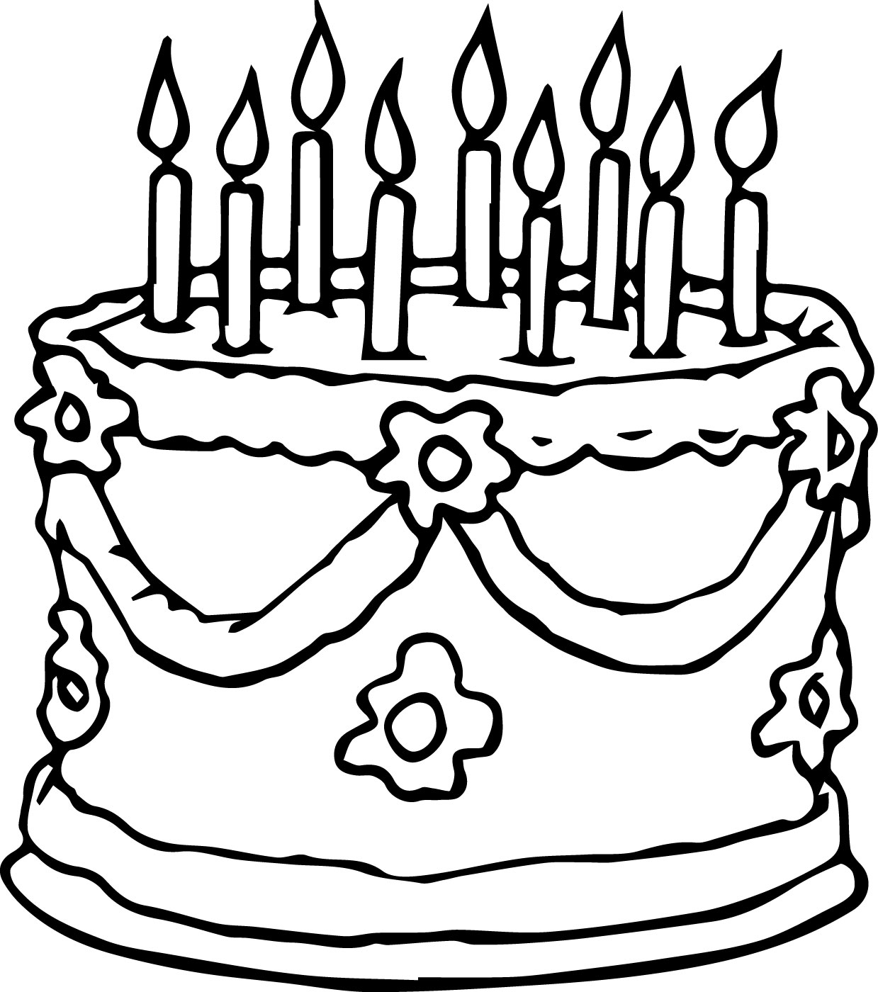 wedding birthday cake coloring page - Birthday Cake Coloring Pages