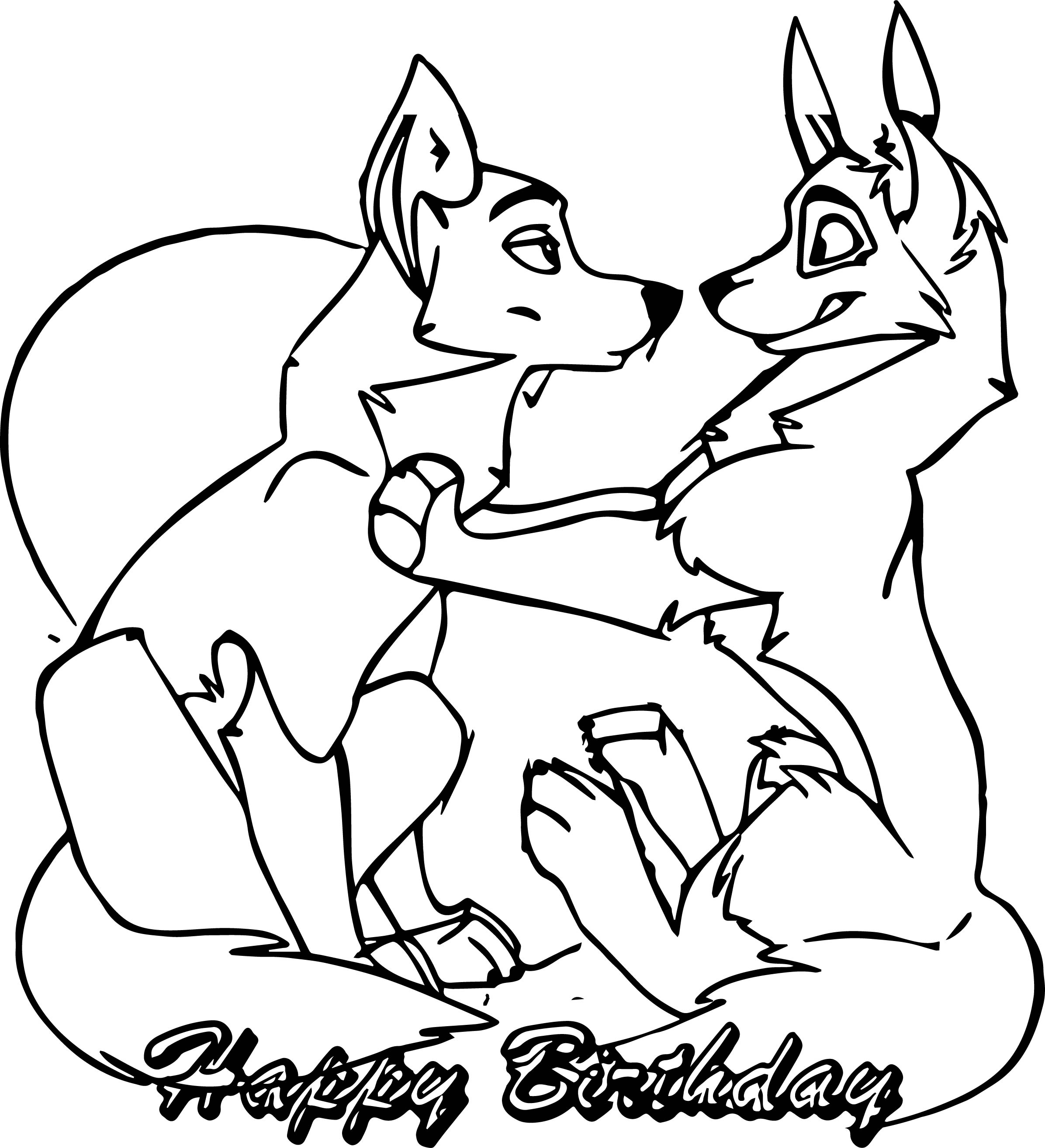 Yuki S Happy Balto Wolf Birthday Coloring Page