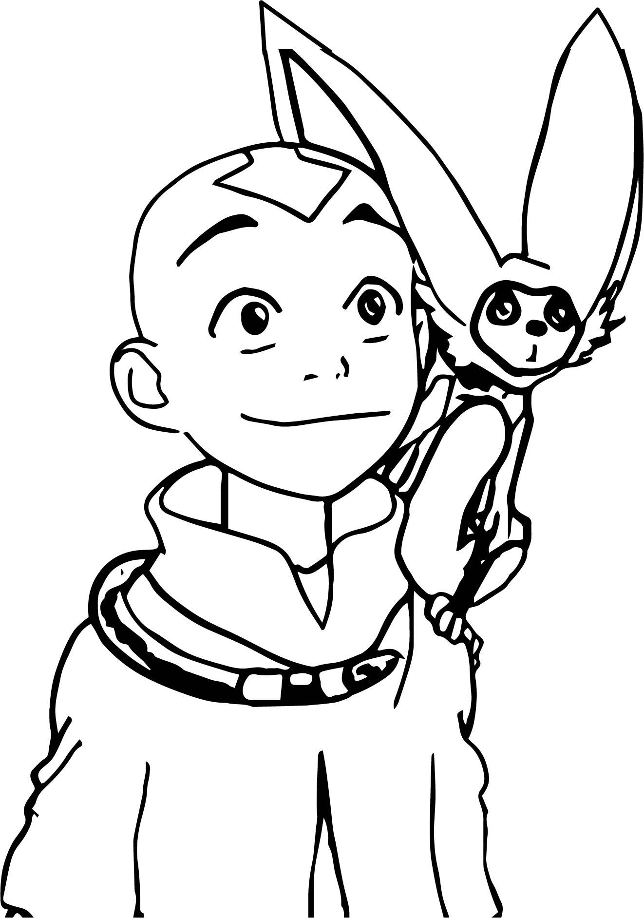 Aang And Momo Ynnck Decmk Avatar Aang Coloring Page