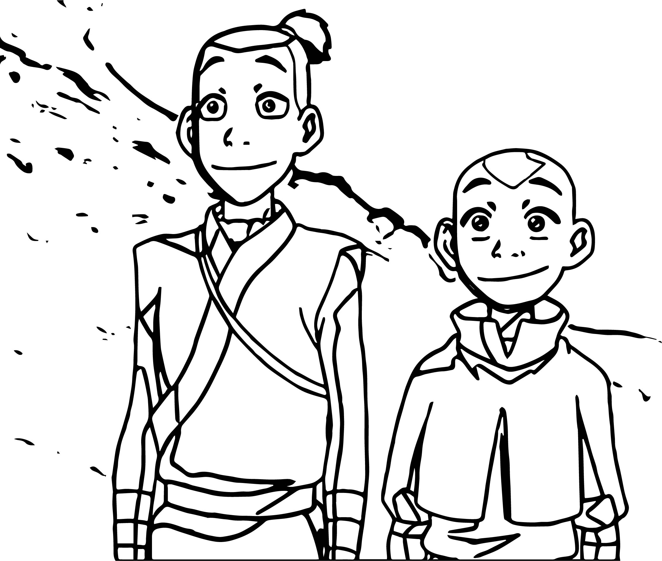 aang and sokka avatar the last airbender avatar aang coloring page