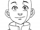Aang Avatar Big Face Coloring Page