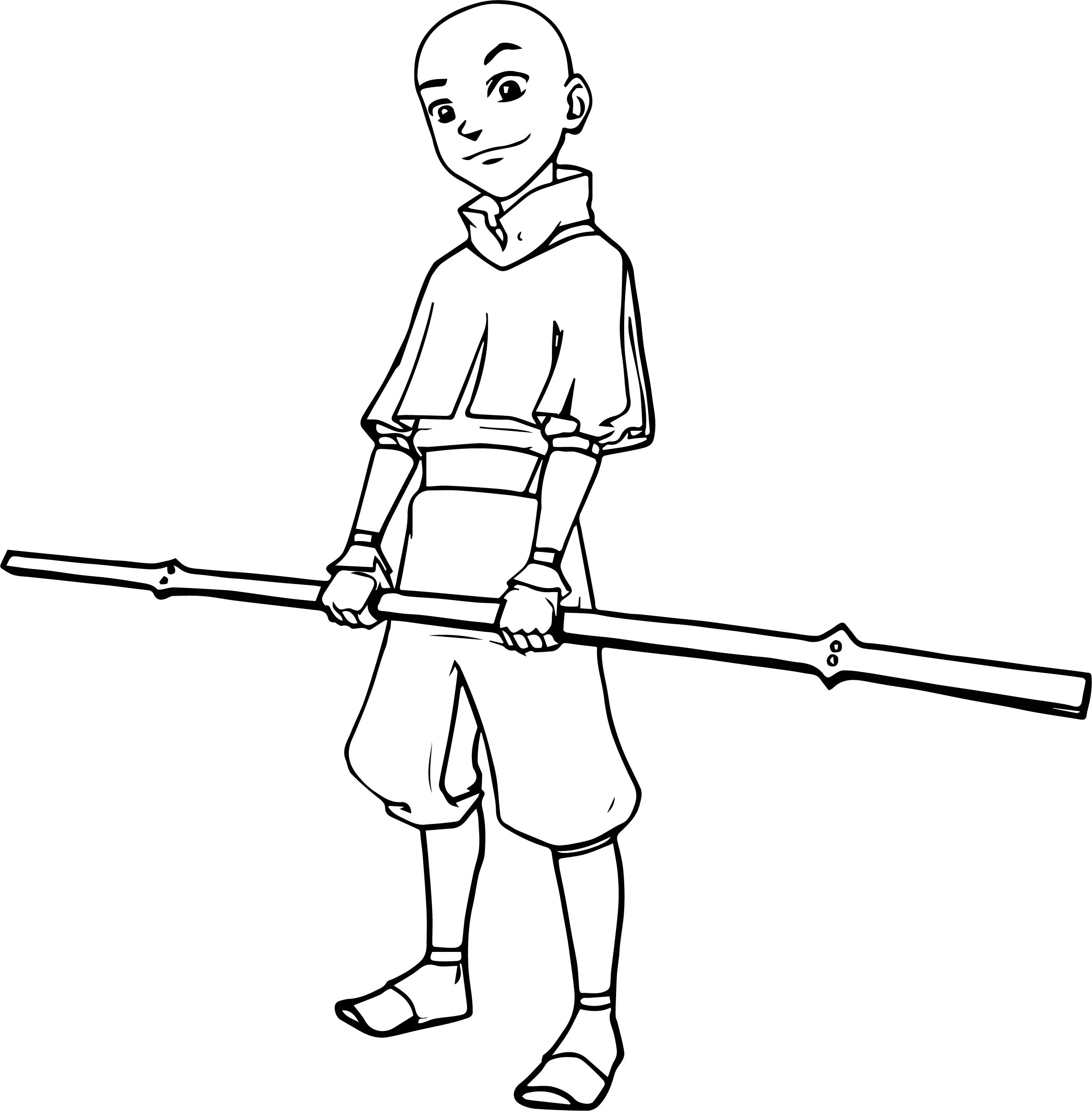 Aang Avatar Stick Coloring Page