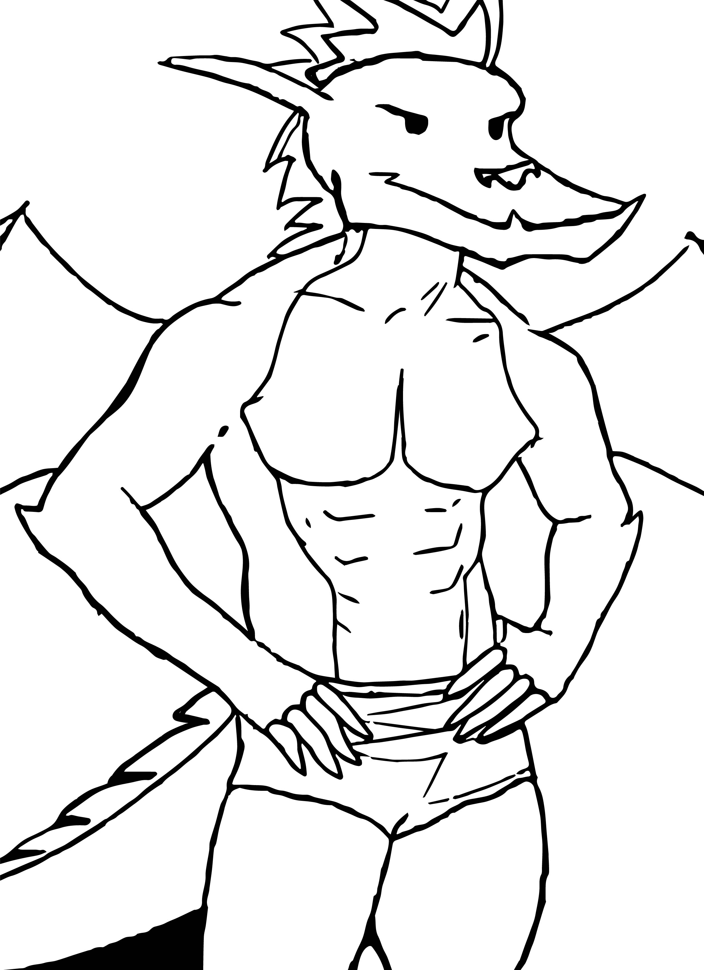 American Dragon Muscle Sketch Coloring Page