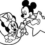 Baby Mickey And Minnie Star Moon Coloring Page