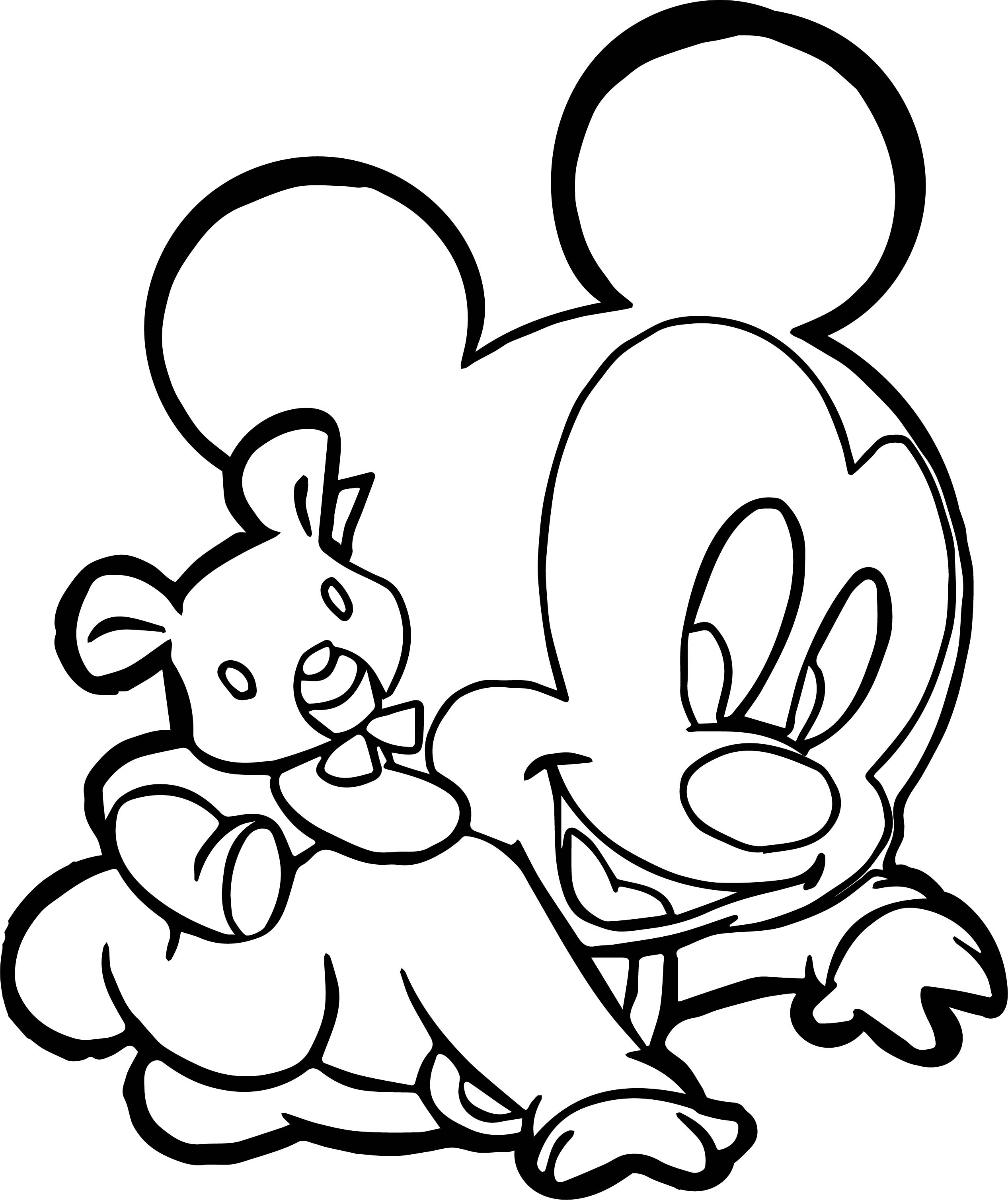 Baby Mickey Carrying Bear Coloring Page