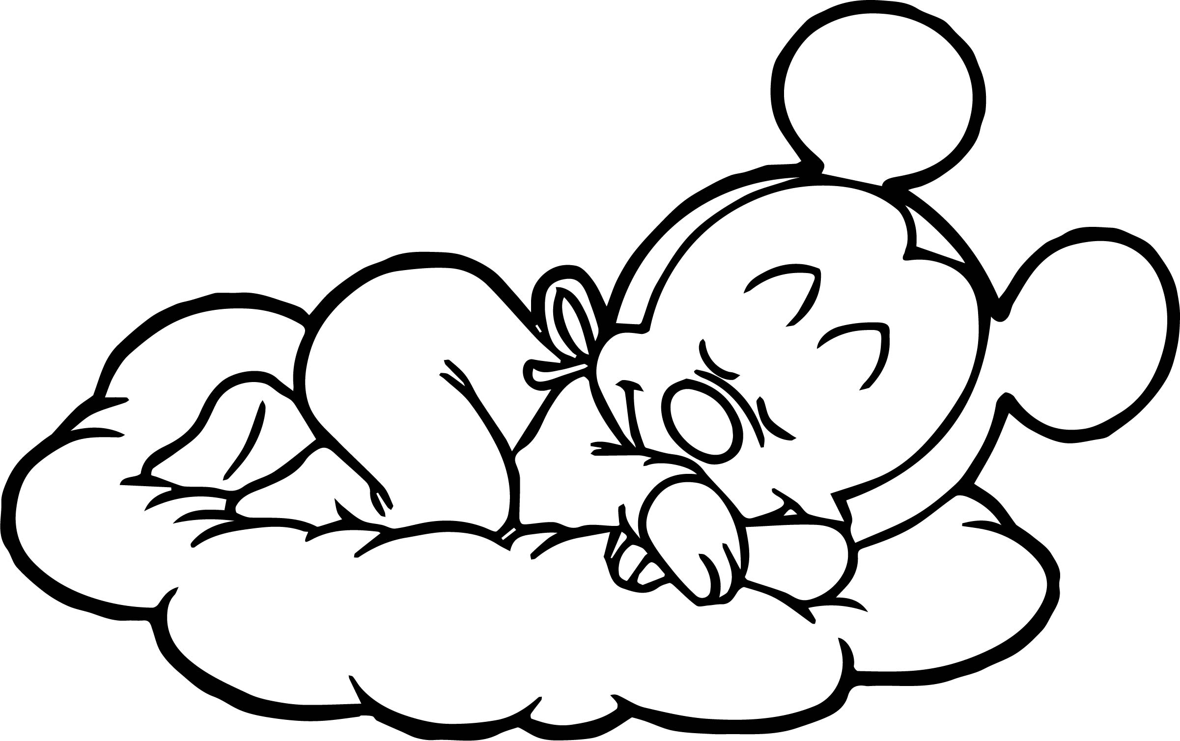 Baby Mickey Sleeping On Cloud Coloring Page