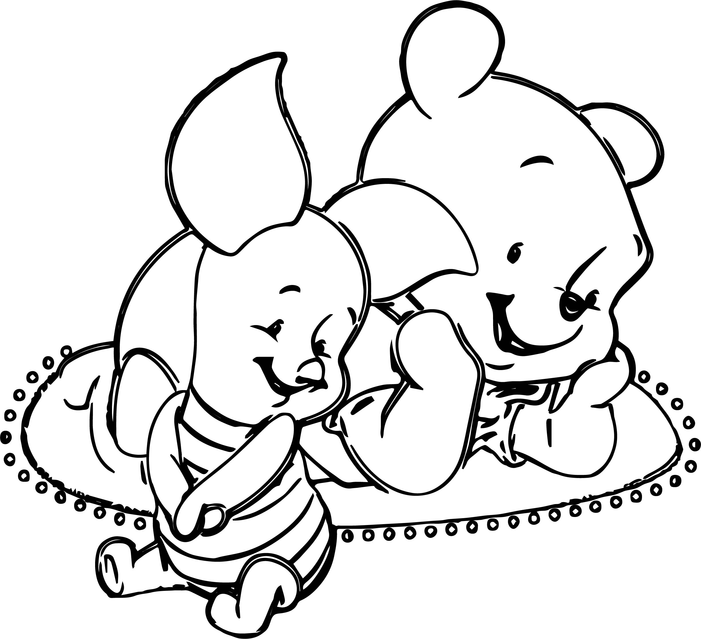 Baby Pig Pooh Coloring Page