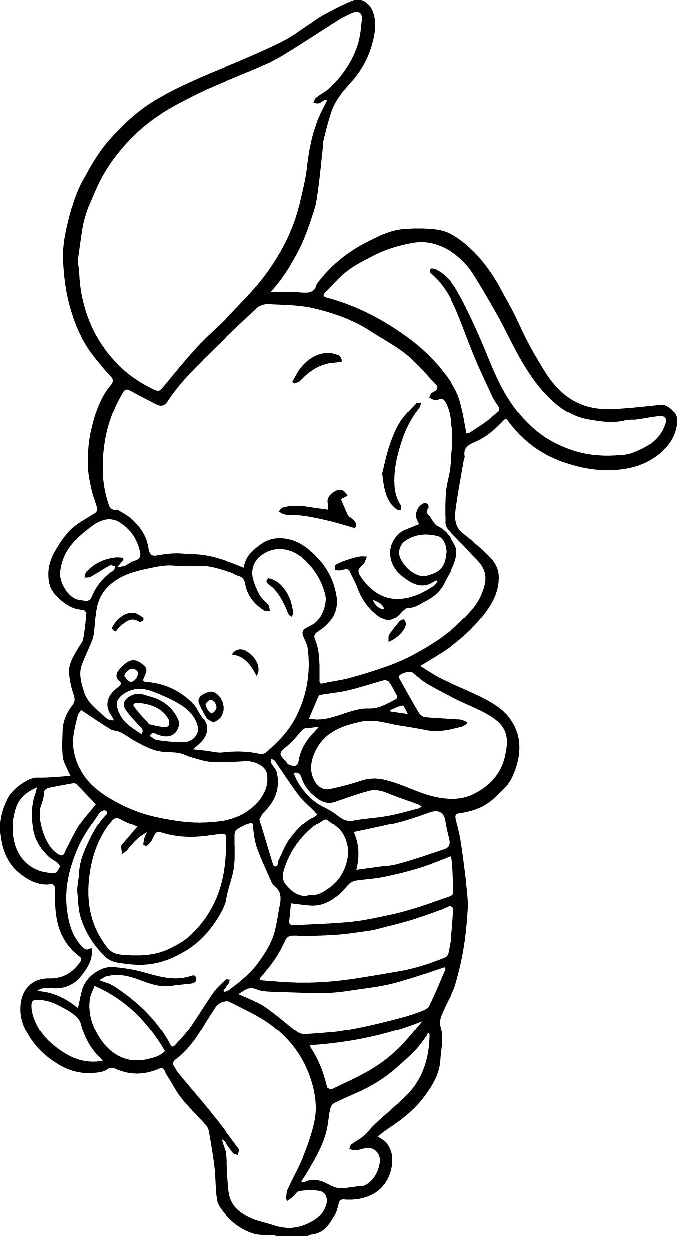 baby piglet and bear toy winnie the pooh coloring page