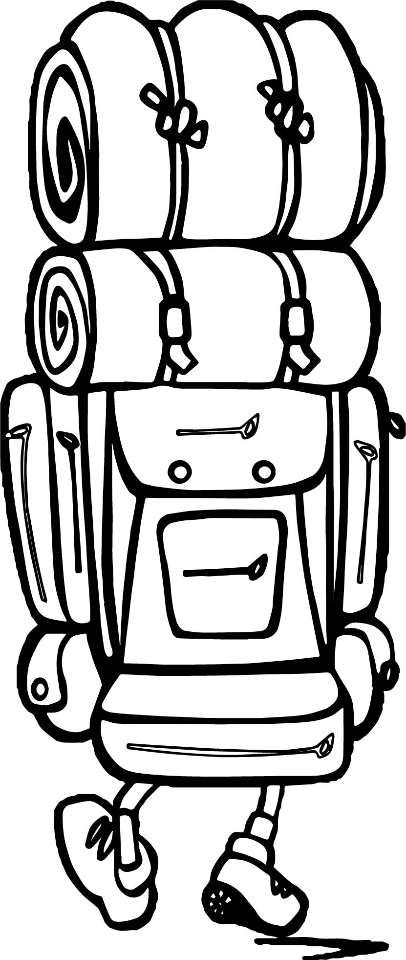 Backpack Hi Camping Coloring Page