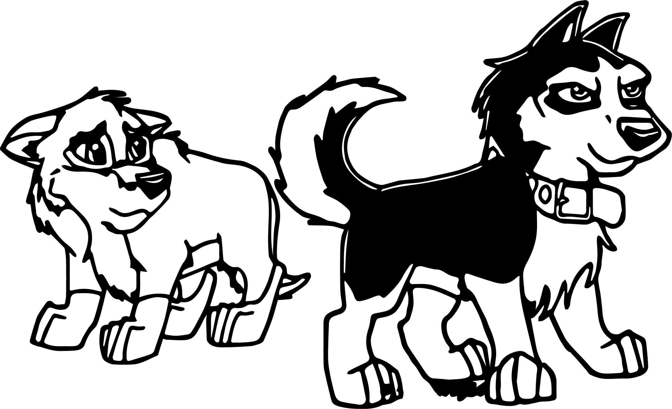 wolf pup cartoon coloring pages | Balto And Steele As Pups Wolf Coloring Page ...