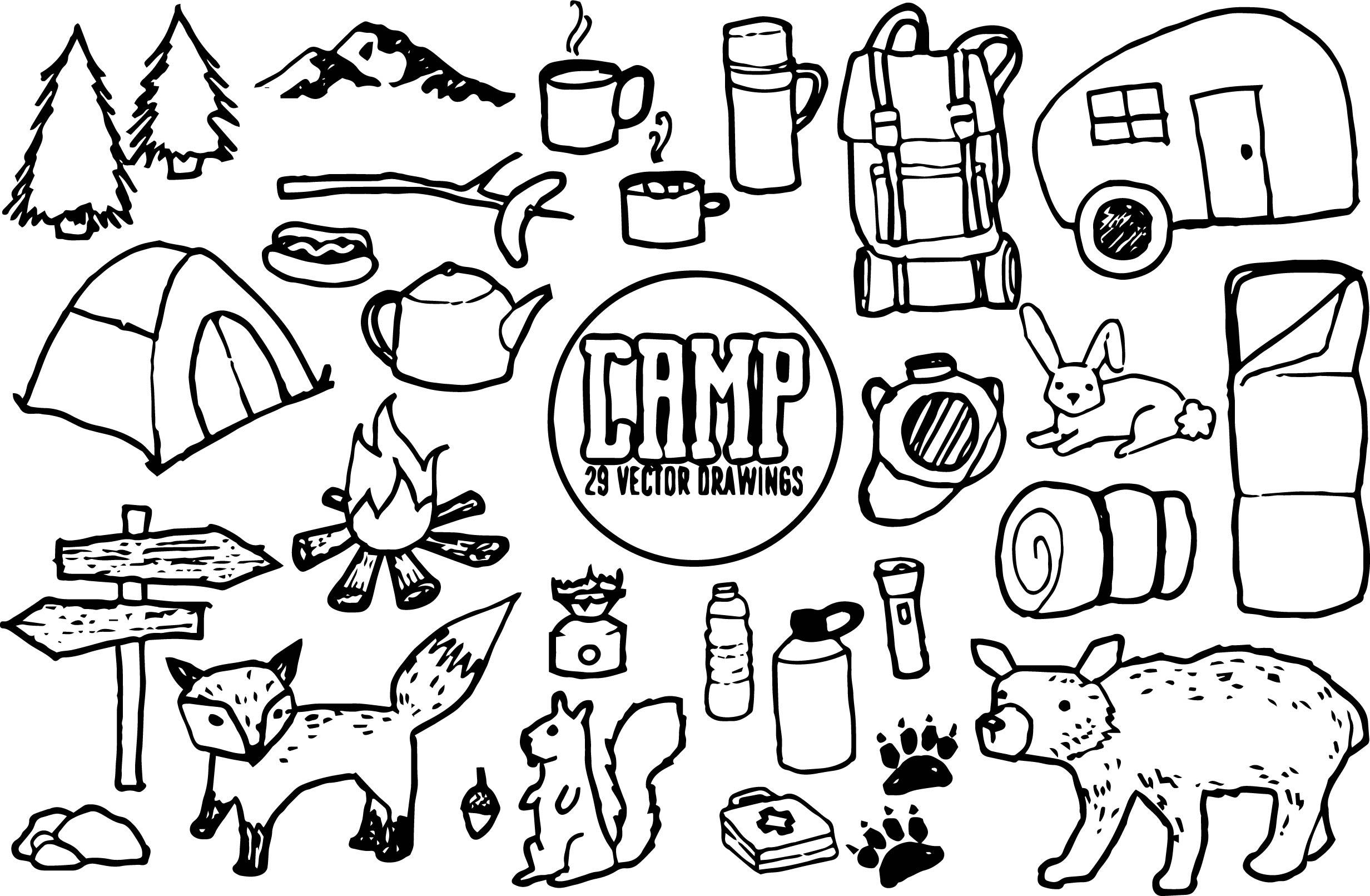 Bear Camp Drawing Coloring Page