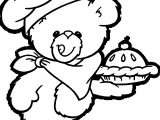 Bear Chef Cake Coloring Page