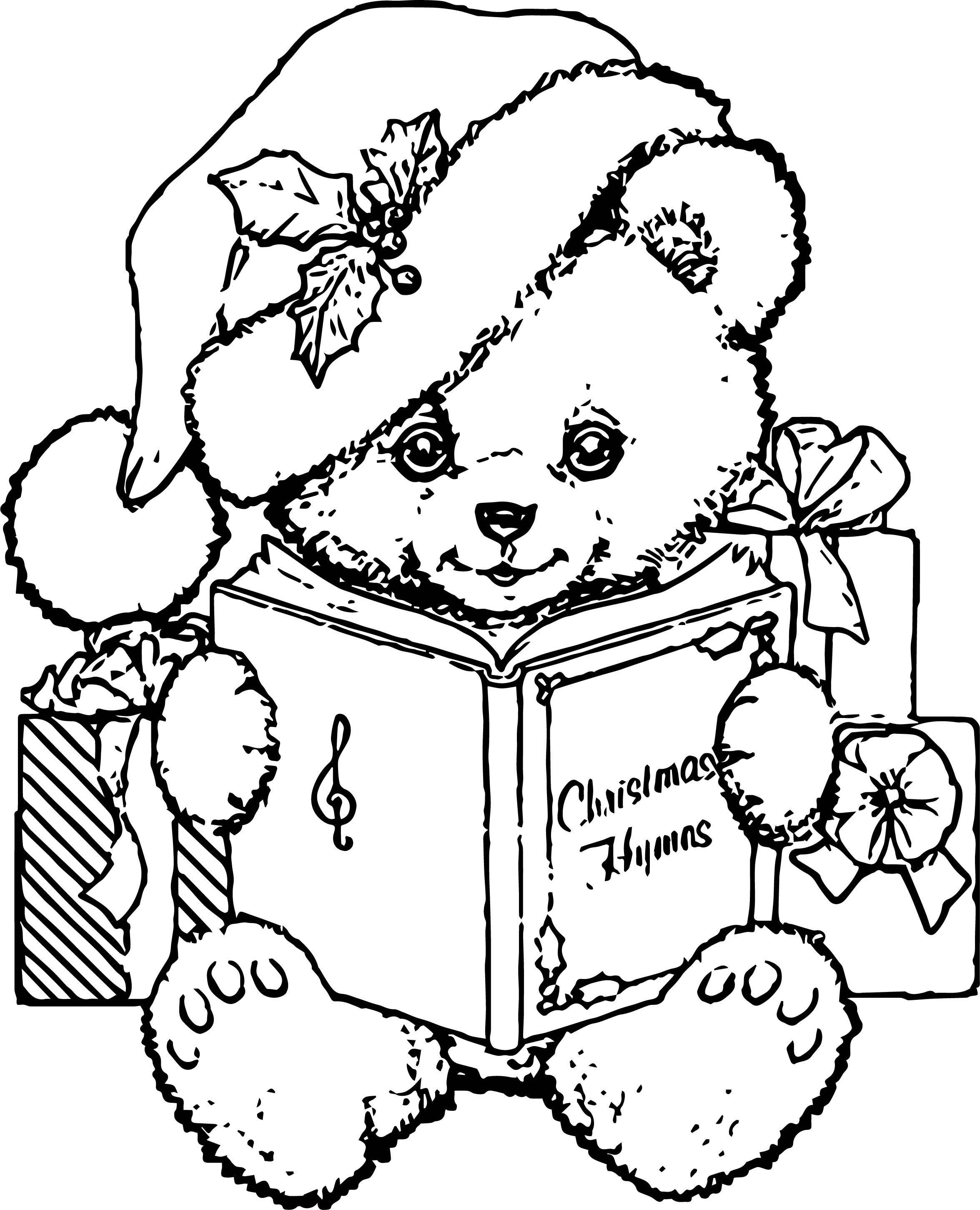 Bear Chrismas Coloring Page