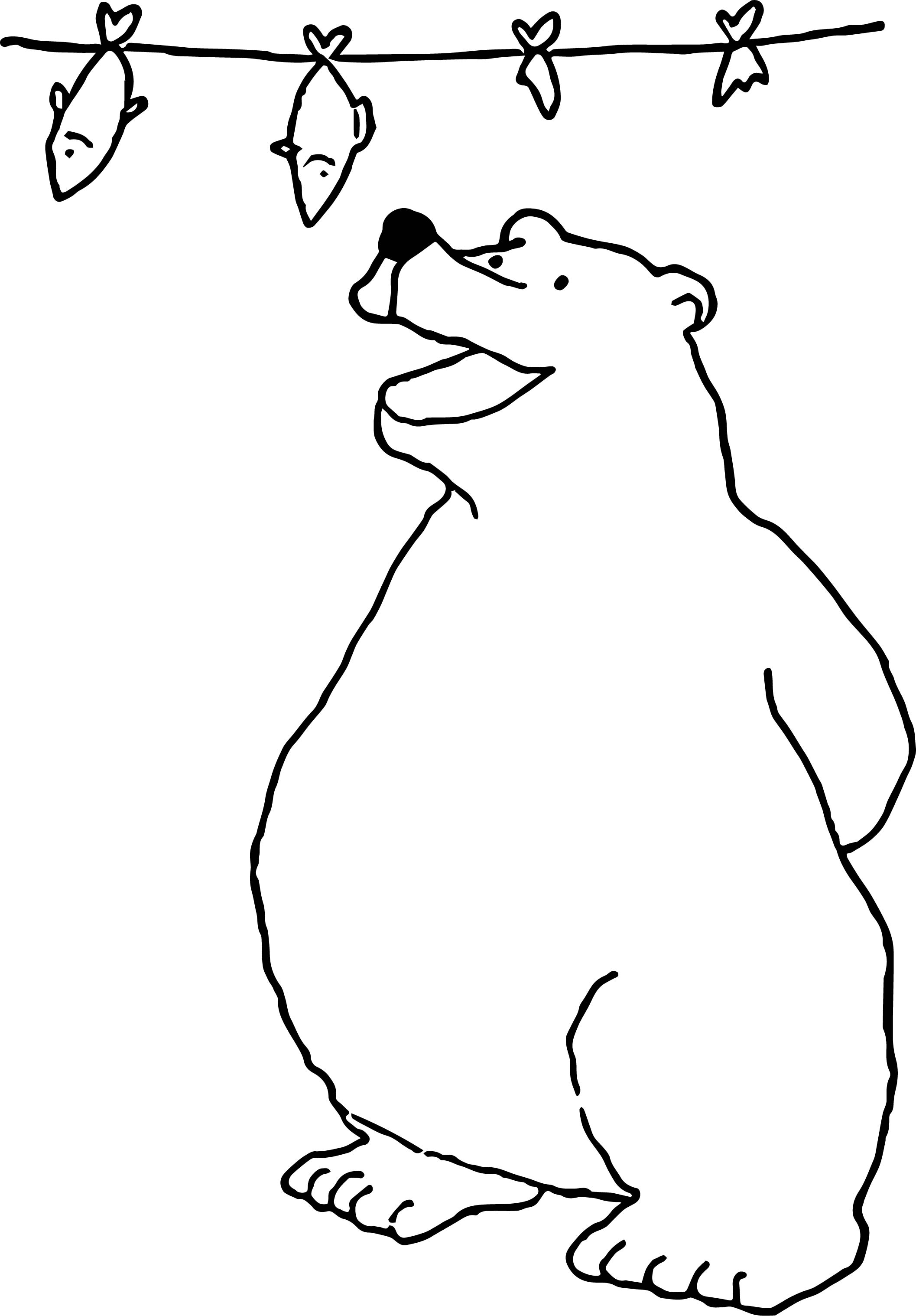 Bear Fish Food Coloring Page