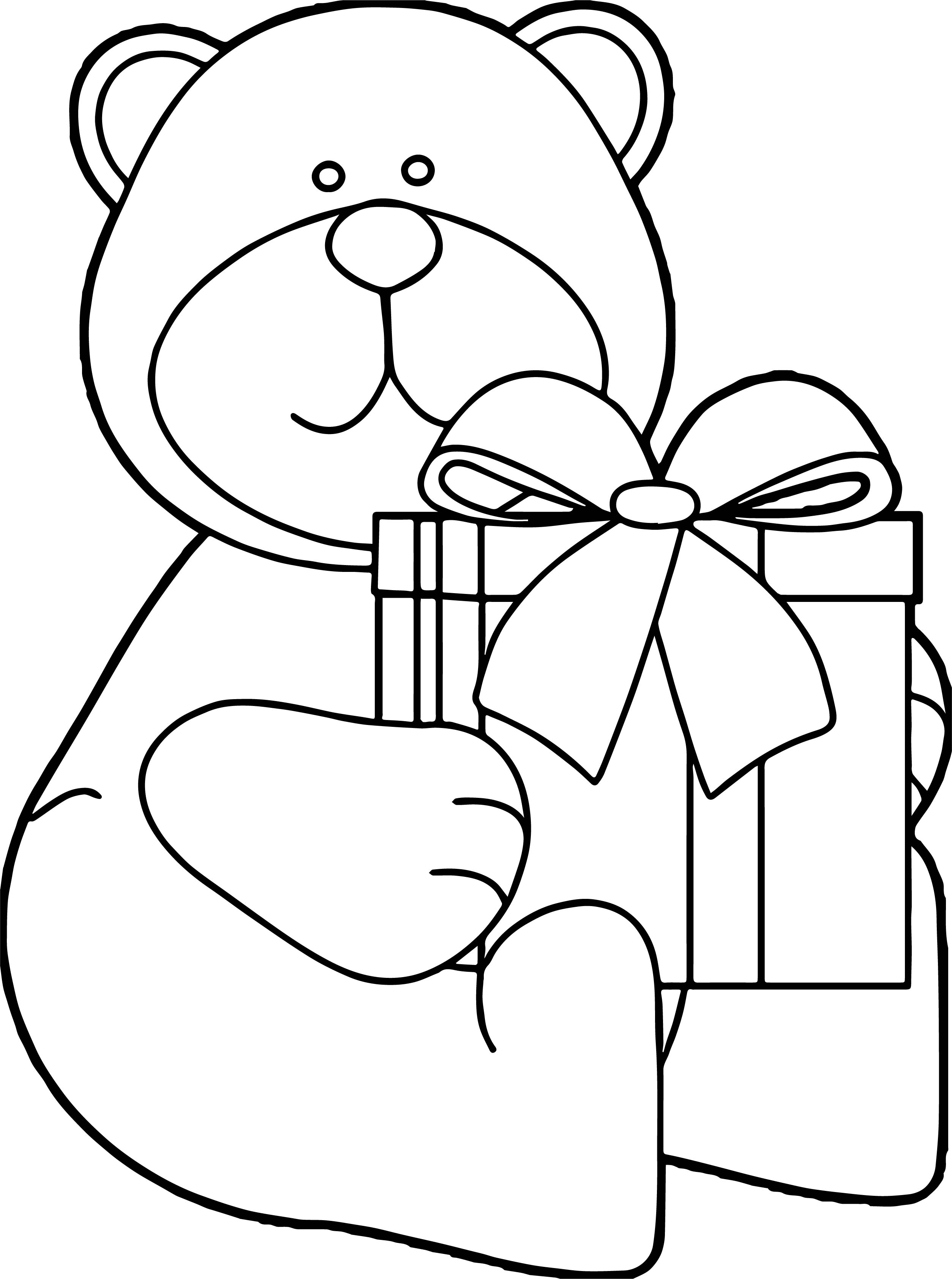 Bear Gift Coloring Page