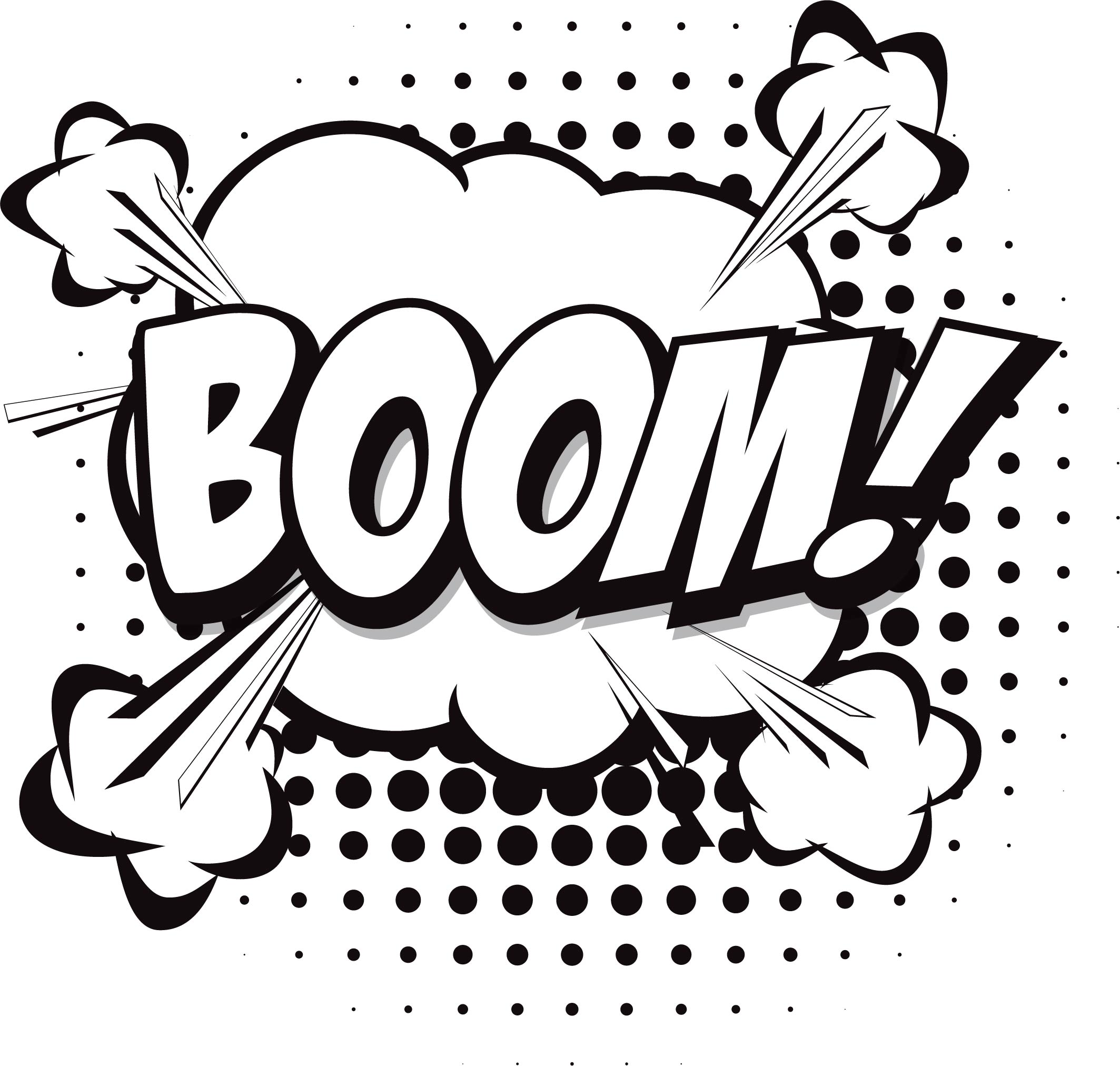 Boom Speech Bubble Coloring Page