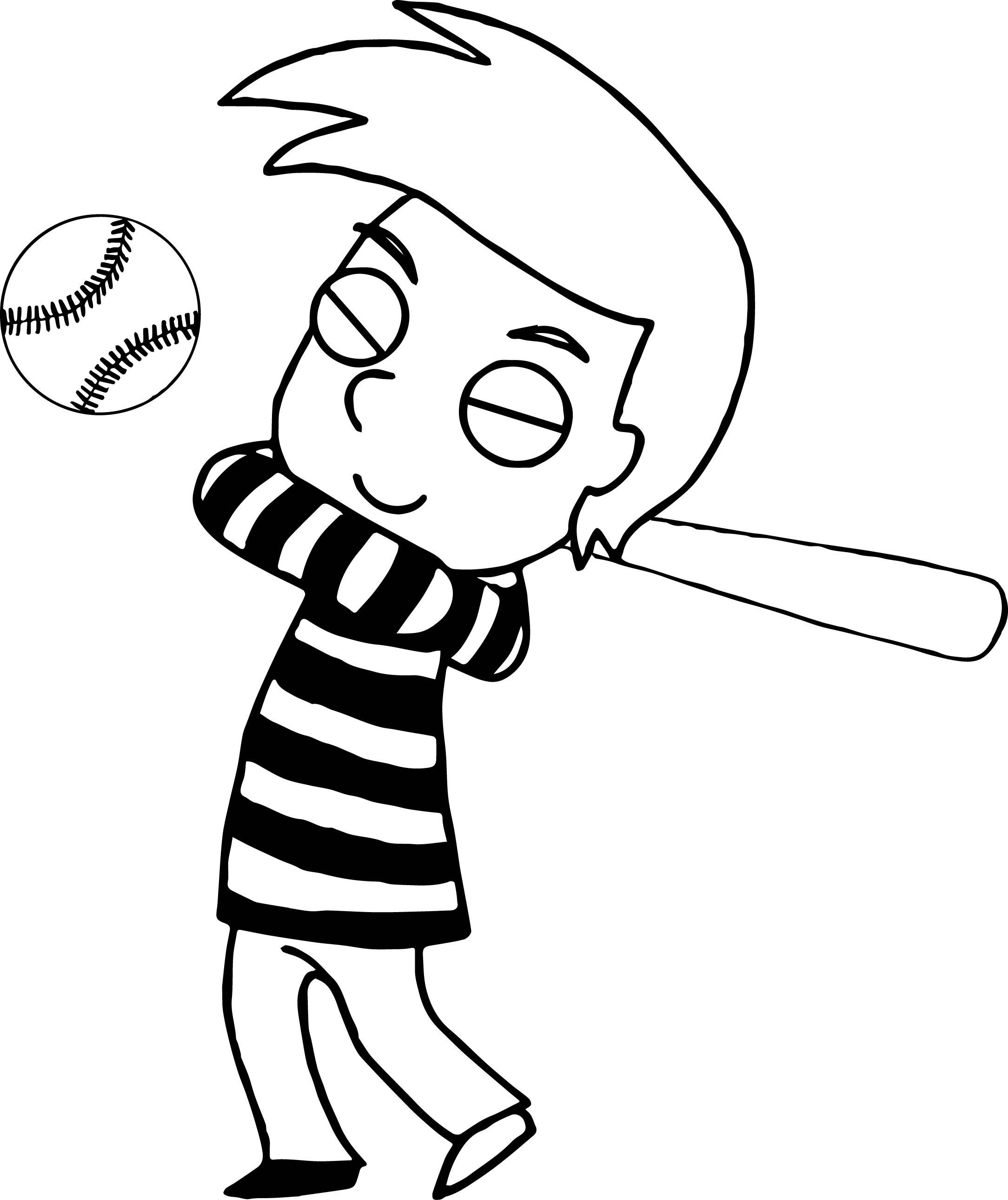 Boy Baseball Playing Coloring Page