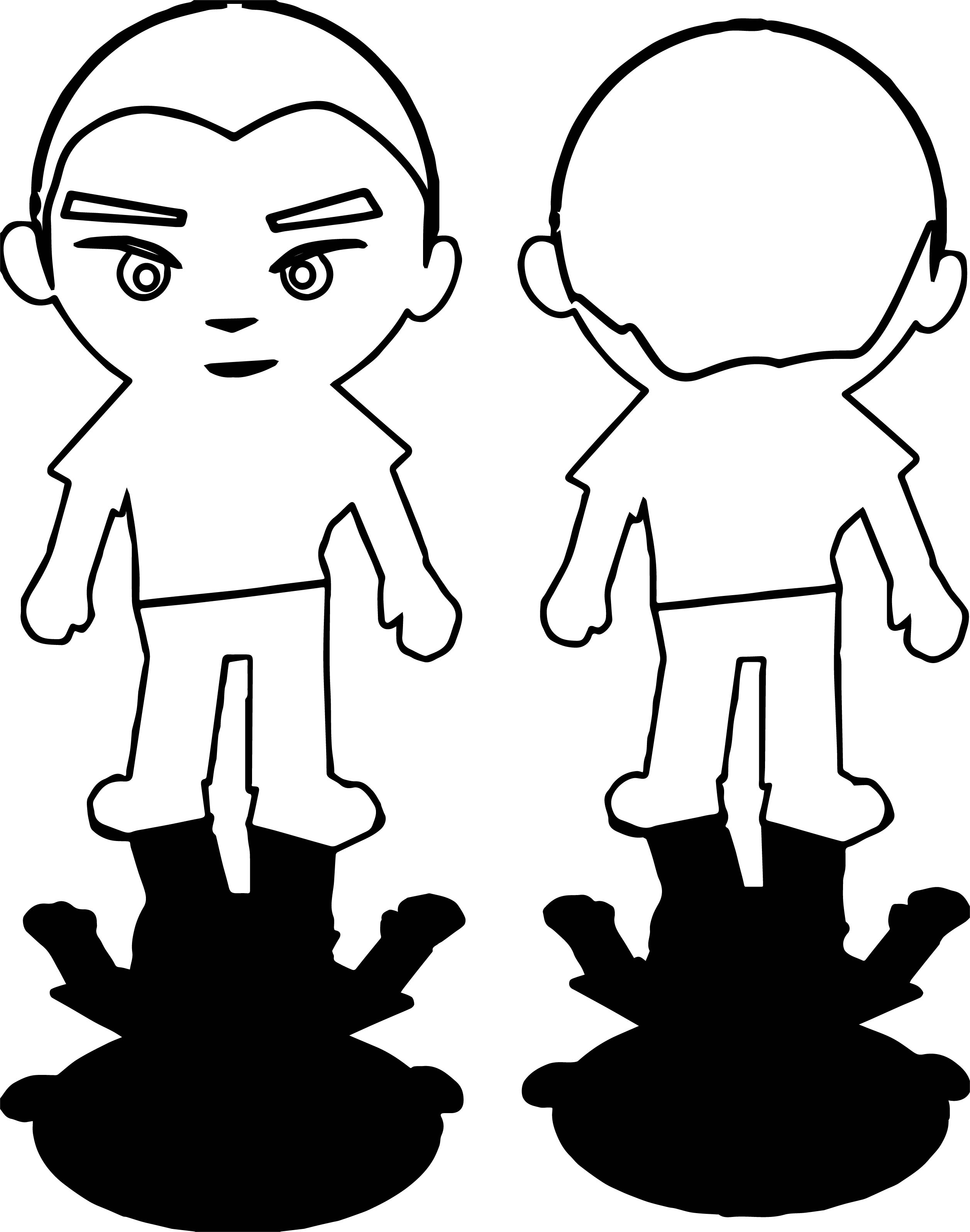 Boy Front Back Shadows Coloring Page
