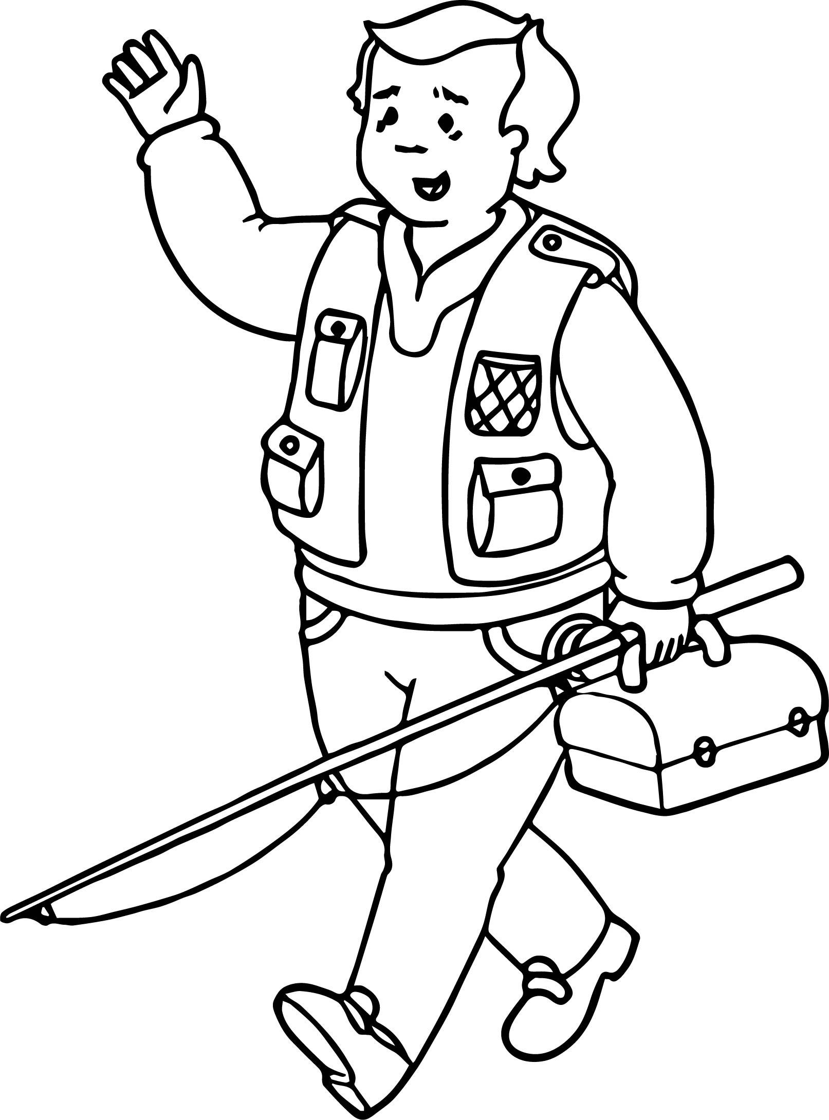 Caillou Fishing Man Coloring Page