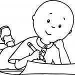 Caillou Write Coloring Page