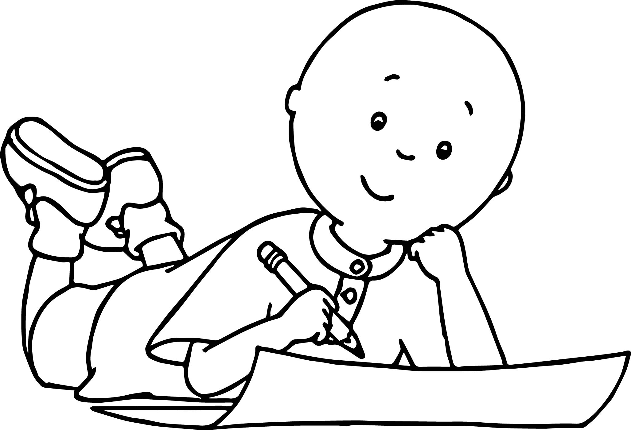 writing coloring pages | Caillou Write Coloring Page | Wecoloringpage.com