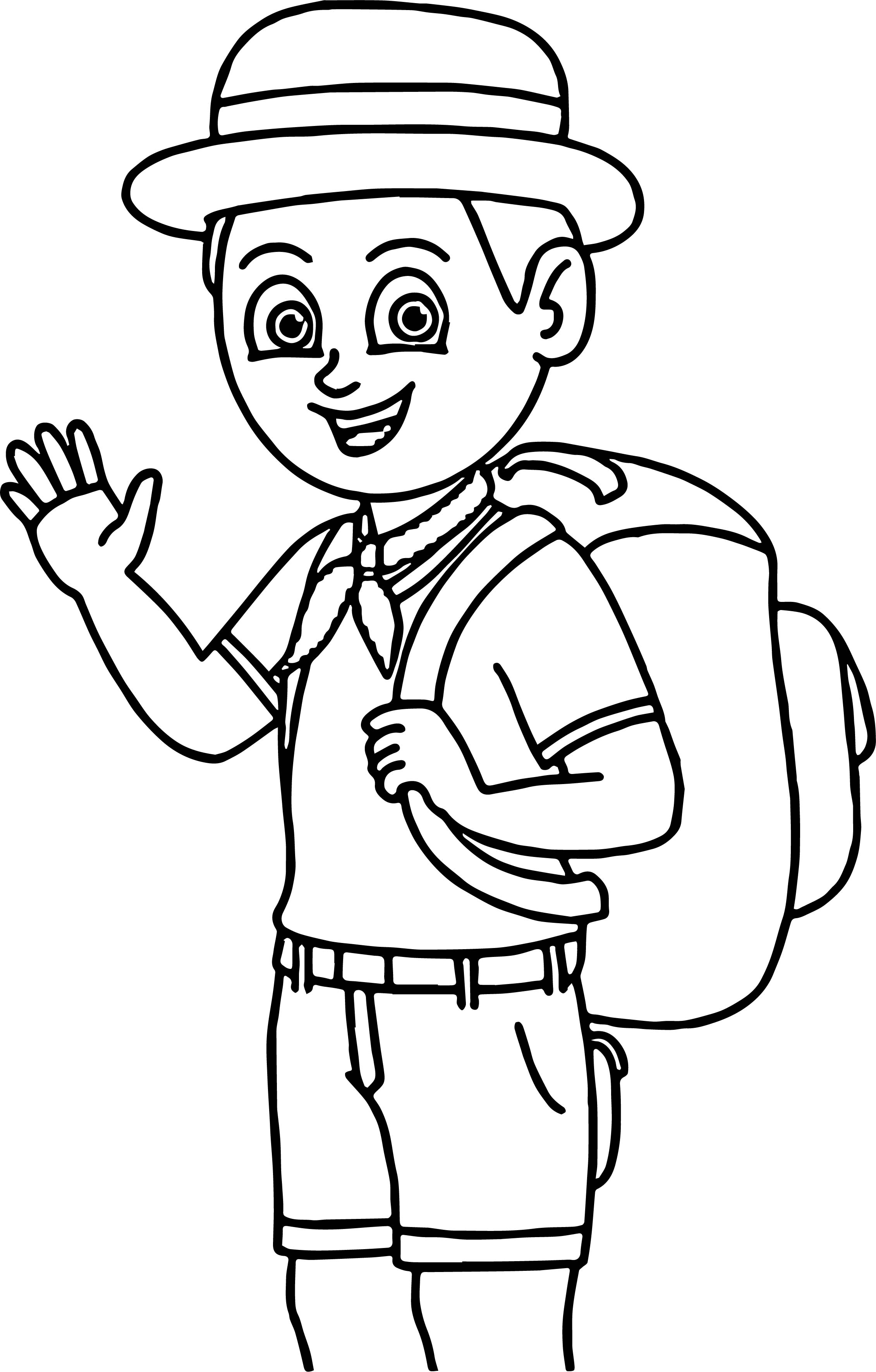 Camping Boy Coloring Page