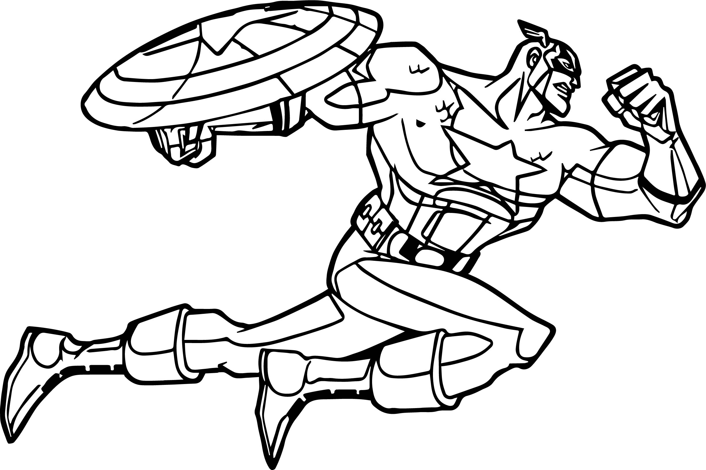 Captain America Fast Attack Coloring Page