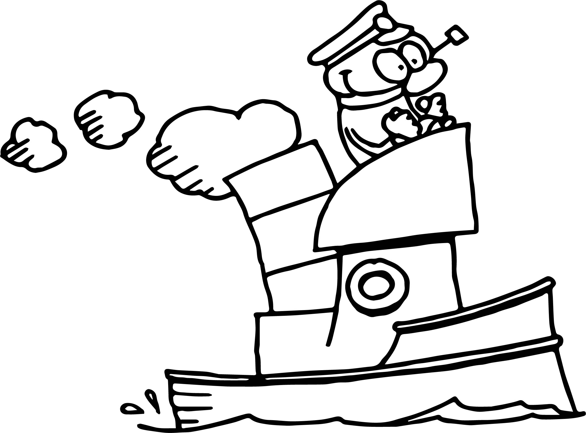 Captain Ship Coloring Page
