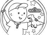 Circle Caillou Dinosaur Coloring Page