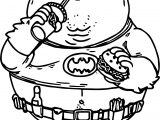 Fat Batman Eating Hamburger Coloring Page